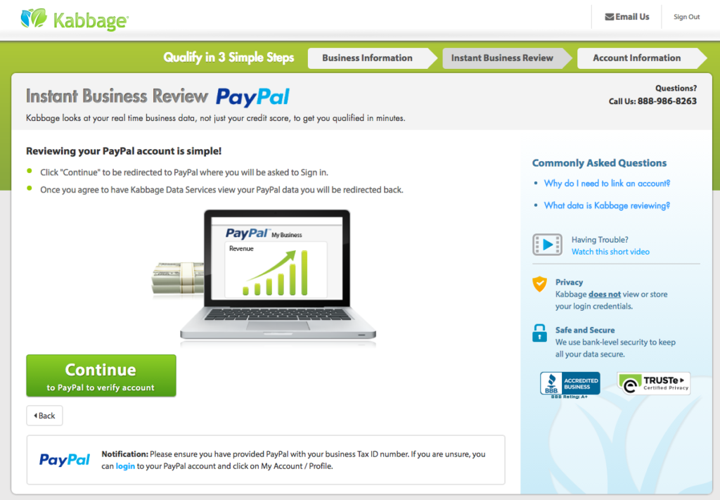 Kabbage review connecting PayPal account