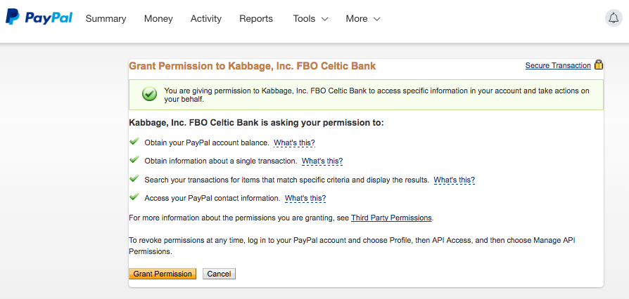 Kabbage requests access to your PayPal account